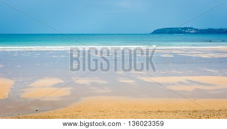Tropical Sandy Beach With Clear Sky.
