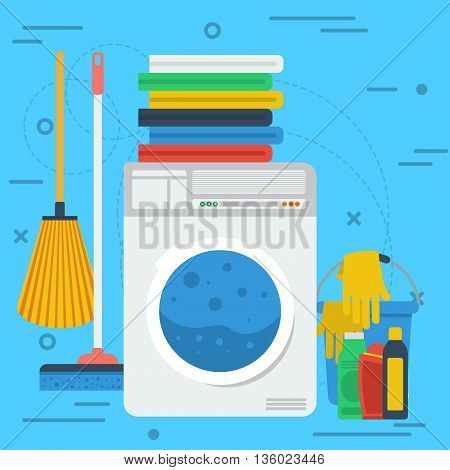Vector square banner laundry room concept. Cleaning service, laundry room and personal cleaning. Washing machine, dry linen and cleaning products in flat style on blue background