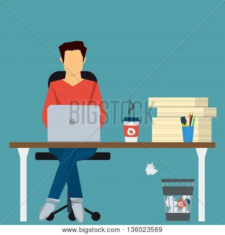 Man working on internet using computer and drinking coffee. Sitting on chair at office desk with pile paper near. Vector concept work at home, freelance, efforts at work. Flat style. Web infographics