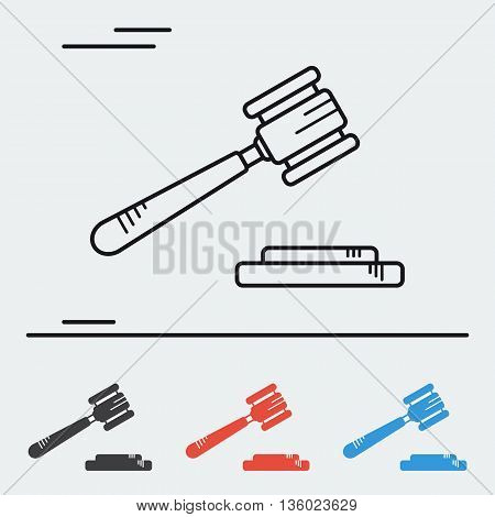 Vector line icon gavel - court hammer. Auction, court or law hammer. Concept of justice. One line icon and three colored in flat style
