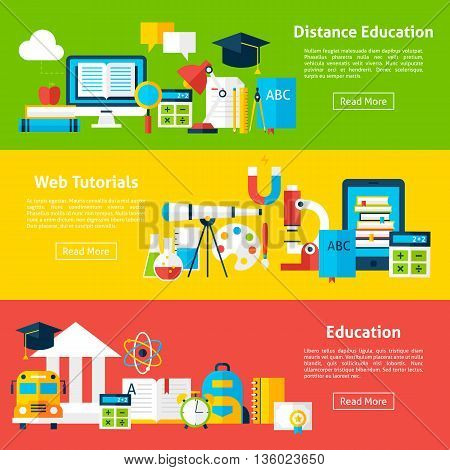 Distance Education And Web Tutorials Flat Horizontal Banners