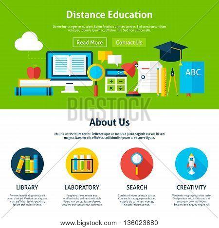 Distance Education Flat Web Design Template