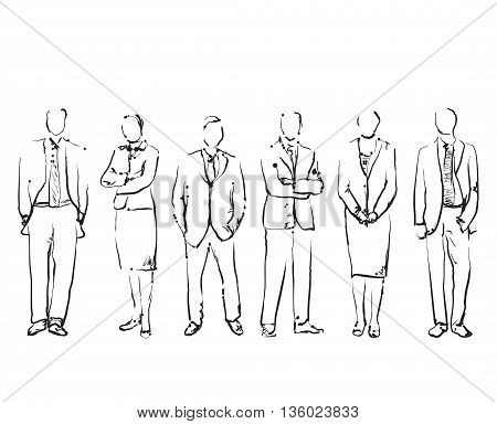 Group Of Hand Drawn Business People. Sketch Business people Vector Illustration