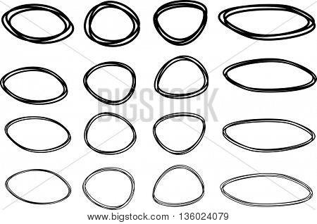 Black oval and round pictured frames set. Vector paper illustration.