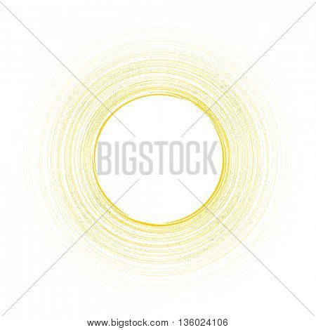 Yellow round background. Vector paper illustration.