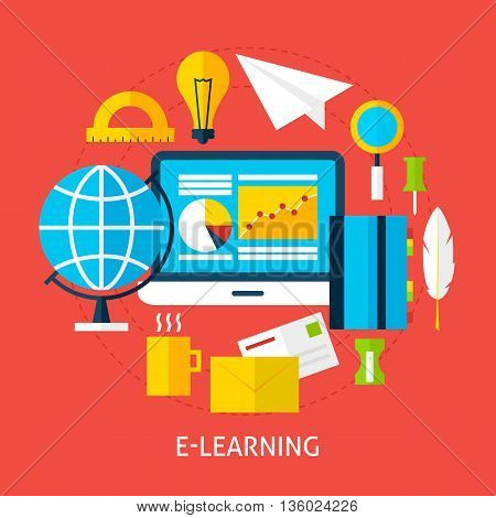 Education And Online Learning Flat Concept