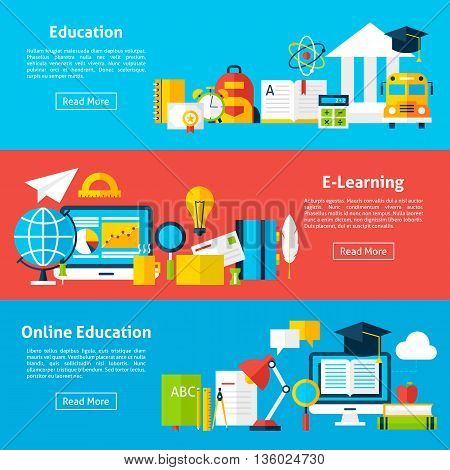 Online Education And Electronic Learning Flat Horizontal Banners