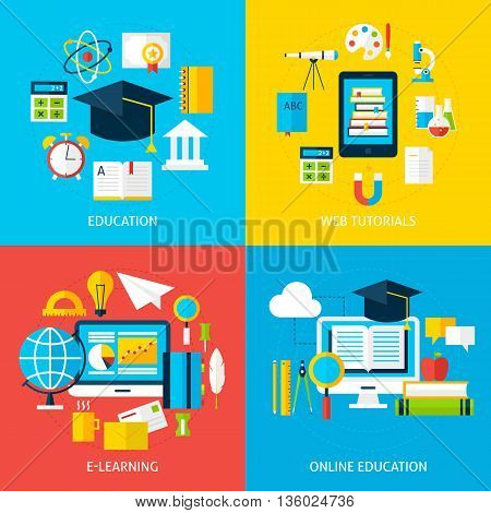 Online Education And Learning Service Flat Concepts Set