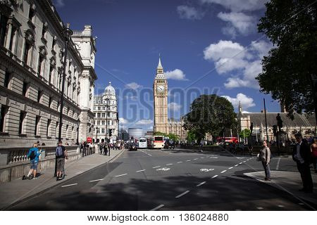 LONDON - JUNE 24: London city view with Big Ben on June 24, 2016 in London, England.