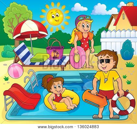 Children and life guard by pool - eps10 vector illustration.