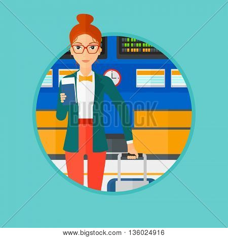 Woman with suitcase holding a passport with ticket at the airport. Woman standing at the airport in front of departure board. Vector flat design illustration in the circle isolated on background.