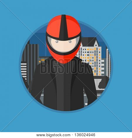 Young biker standing on the background of night city. Man in biker helmet and leather jacket. Vector flat design illustration in the circle isolated on background.