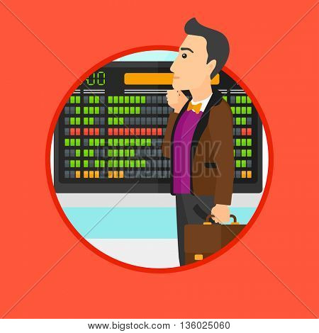 Man with a briefcase looking at departure board at the airport. Passenger standing at the airport in front of the departure board. Vector flat design illustration in the circle isolated on background.