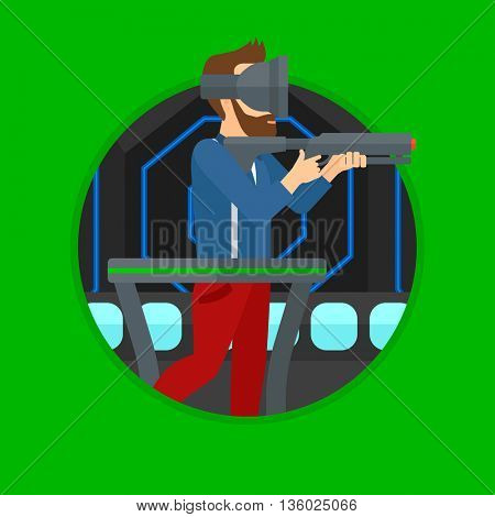 Hipster man wearing virtual reality headset. Hipster man playing video game while standing on a treadmill with a gun in hands. Vector flat design illustration in the circle isolated on background.