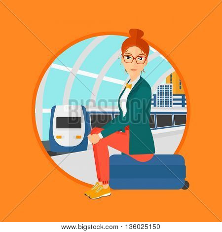 Woman sitting on a suitcase at the train station on the background of arriving train. Woman waiting for a train at the platform. Vector flat design illustration in the circle isolated on background.