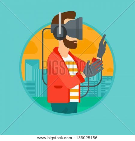 A hipster man wearing a virtual relaity headset. Man playing video games on a city background. Man wearing gamer gloves. Vector flat design illustration in the circle isolated on background.