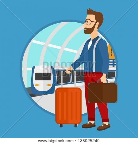 A hipster man standing at the train station on the background of arriving train. Young man with suitcases waiting for a train. Vector flat design illustration in the circle isolated on background.