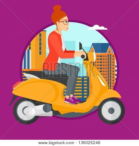 Woman riding a scooter on a city background. Young woman driving a scooter in the street. Vector flat design illustration in the circle isolated on background.
