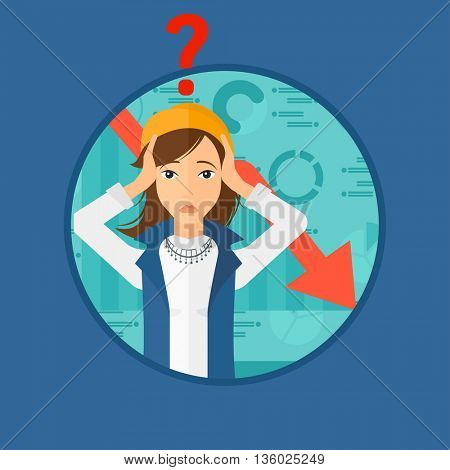 Female bankrupt clutching her head. Female bankrupt with a big question mark above her head. Concept of business bankruptcy. Vector flat design illustration in the circle isolated on background.