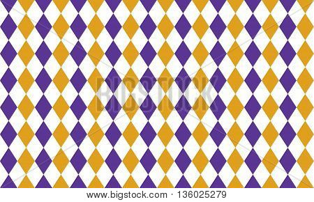 Abstract geometric seamless pattern of rhombus in purple golden and white colors