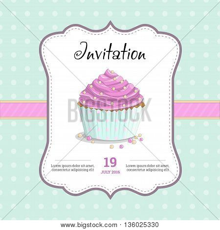 Sweet food dessert delicious cupcake retro poster on squared background illustration. Invitation for a birthday, wedding, Valentine's Day, party