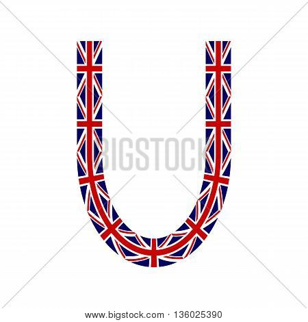 Letter U made from United Kingdom flags on white background