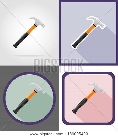 hammer repair and building tools flat icons vector illustration isolated on white background