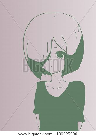 A young sad girl in anime style.