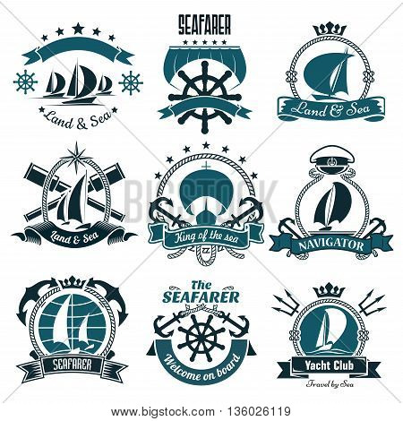 Sailing ships and sporting sailboats icons for yacht club, sailing sports or marine travel design including helms and anchors, spy glasses and tridents, framed by ribbon banners and ropes, compasses and stars, crowns and captain cap