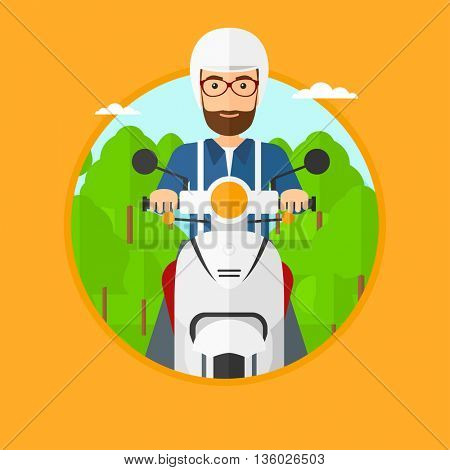 A hipster man riding a scooter on the asphalt road on the background of forest. Young man in helmet driving a scooter. Vector flat design illustration in the circle isolated on background..