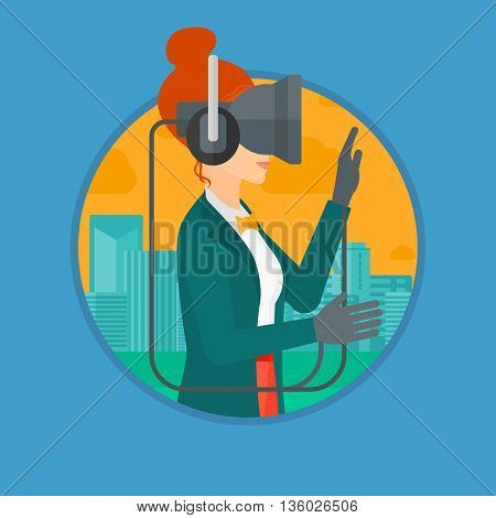 Young woman wearing a virtual relaity headset. Woman playing video games on a city background. Woman wearing gamer gloves. Vector flat design illustration in the circle isolated on background.
