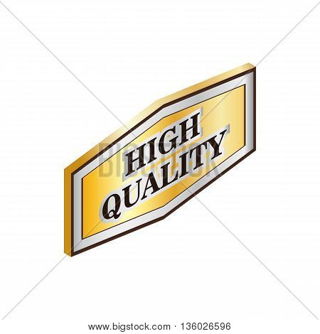 Rectangular label high quality icon in isometric 3d style isolated on white background. Products and design symbol