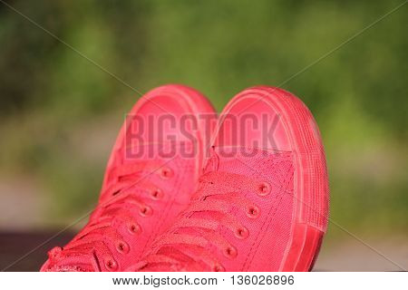 Red Sneakers On Green Background