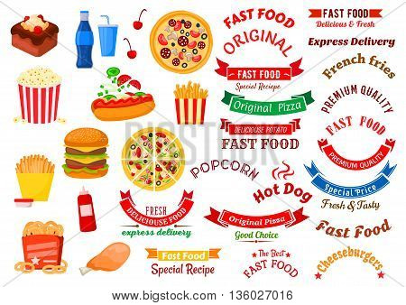 Fast food cafe icons for sign board or delivery service design usage with cheeseburger, hot dog and chicken leg, french fries, pizza and onion rings with sauces, popcorn and chocolate cake with soft beverages, ribbon banners with stars and headers