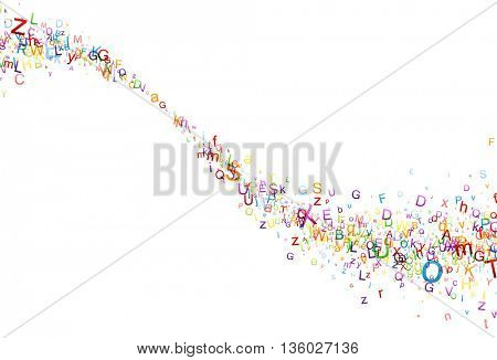 White paper background with swirl of color letters. Vector illustration.