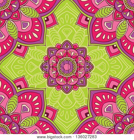 Elegant seamless oriental ornaments of mandalas on a green background. Bright vector pattern for carpet wrapping wallpaper textile.