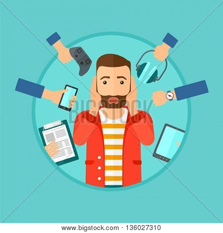 Man in despair and many hands with gadgets around him. Young man surrounded with gadgets. Man using many electronic gadgets. Vector flat design illustration in the circle isolated on background.