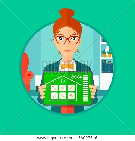 Woman holding a tablet computer with remote home control system on a screen. Woman showing tablet with smart home app on a screen. Vector flat design illustration in the circle isolated on background.