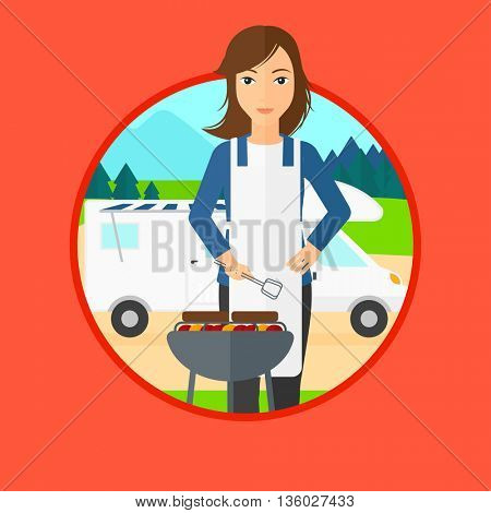Young woman cooking meat on barbecue on the background of camper van. Woman travelling by camper van and having barbecue party. Vector flat design illustration in the circle isolated on background.