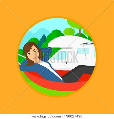 Young woman lying in a hammock in front of motor home in the forest. Woman resting in hammock and enjoying vacation in camper van. Vector flat design illustration in the circle isolated on background.