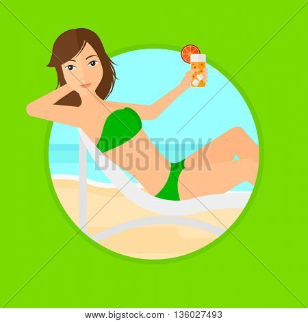 Woman sitting in a chaise longue on the beach. Young woman drinking a cocktail on the beach. Woman relaxing on beach chair. Vector flat design illustration in the circle isolated on background.