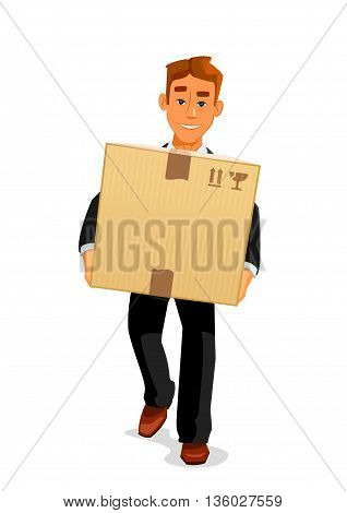 Delivery service, postal carrier or postman professions design. Elegant young man cartoon character in black business suit is delivering a parcel to recipient