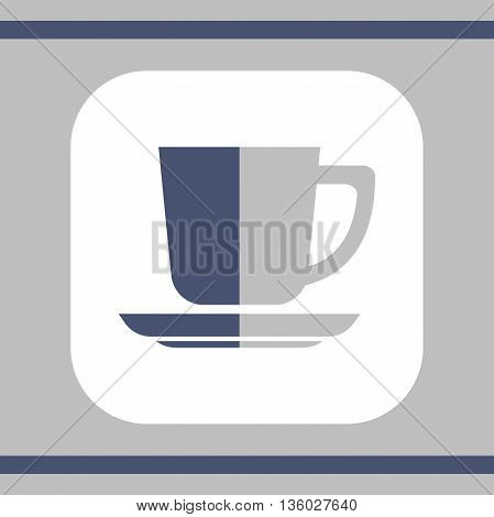 Square icon of cup in flat style. Vector illustration.