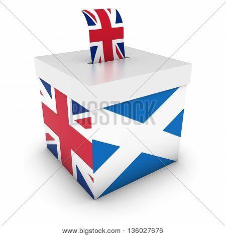 Vote For Uk - Scottish Uk Referendum Ballot Box With Flags 3D Illustration