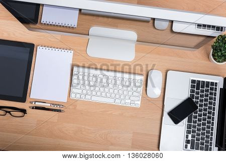 Computer Pc, Laptop With Digital Tablet
