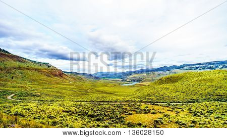 The Grass covered Rolling Hills of the Thompson River Valley in British Columbia, Canada