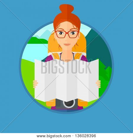 Traveler with backpack and camera looking at map. Young woman travelling in mountains. Traveler searching right direction on map. Vector flat design illustration in the circle isolated on background.