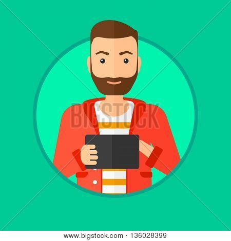 Hipster man with the beard using a tablet computer. Businessman working with a digital tablet. Businessman holding digital tablet. Vector flat design illustration in the circle isolated on background.