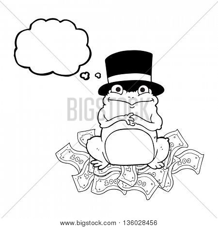freehand drawn thought bubble cartoon rich frog in top hat