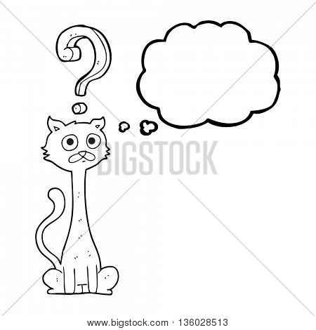 freehand drawn thought bubble cartoon curious cat